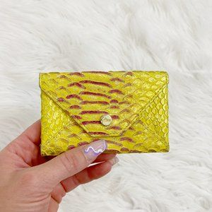 NWOT Abas Yellow and Pink Croco Skin Card Case